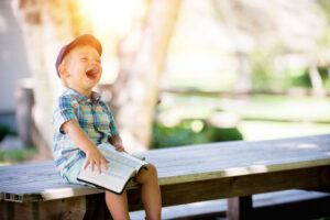 toddler laughing at story