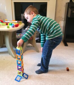 child building magnetic tile tower