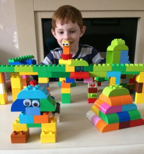 LEGO Duplo animals with googly eyes