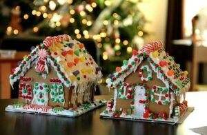 two homemade gingerbread houses