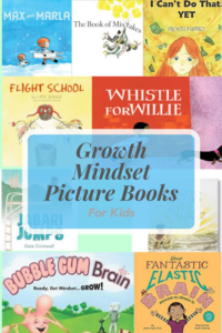 collage of growth mindset picture books