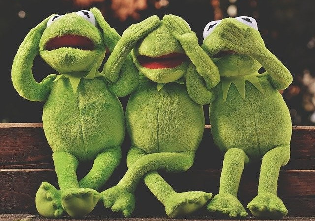 3 kermit the frogs covering eyes, head, and mouth in dismay