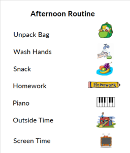 Afternoon Routine Chart