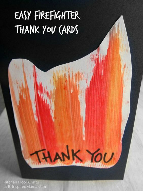 brighten a firefighters day - homemade thank you card