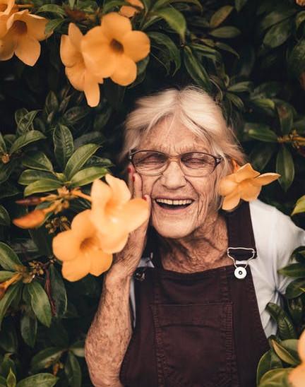 brighten someone's day - elderly woman smiling