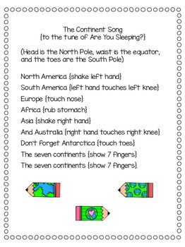 The continent song for virtual trip around the world for homeschoolers